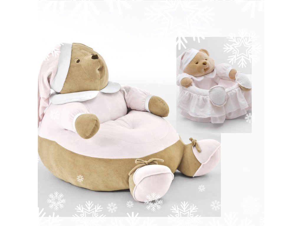 Darčekový set : Puff Puccio ružový + Košík Puccio ružový