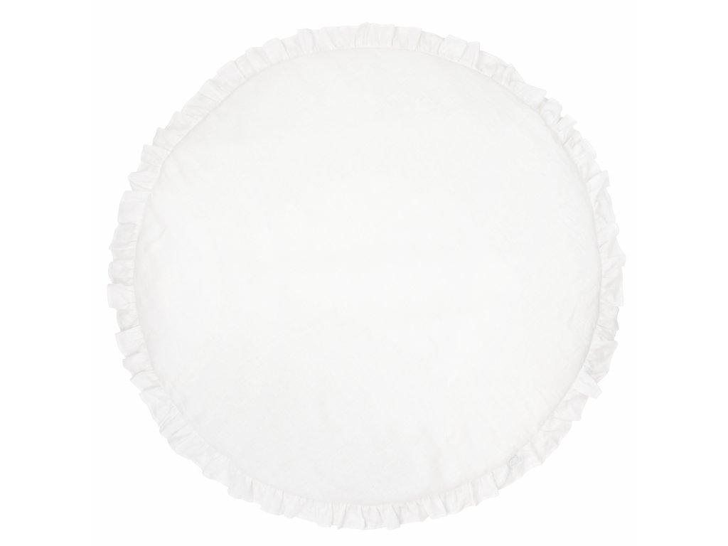 Ľanová hracia podložka s volánikmi Pure Nature Exclusive - biela