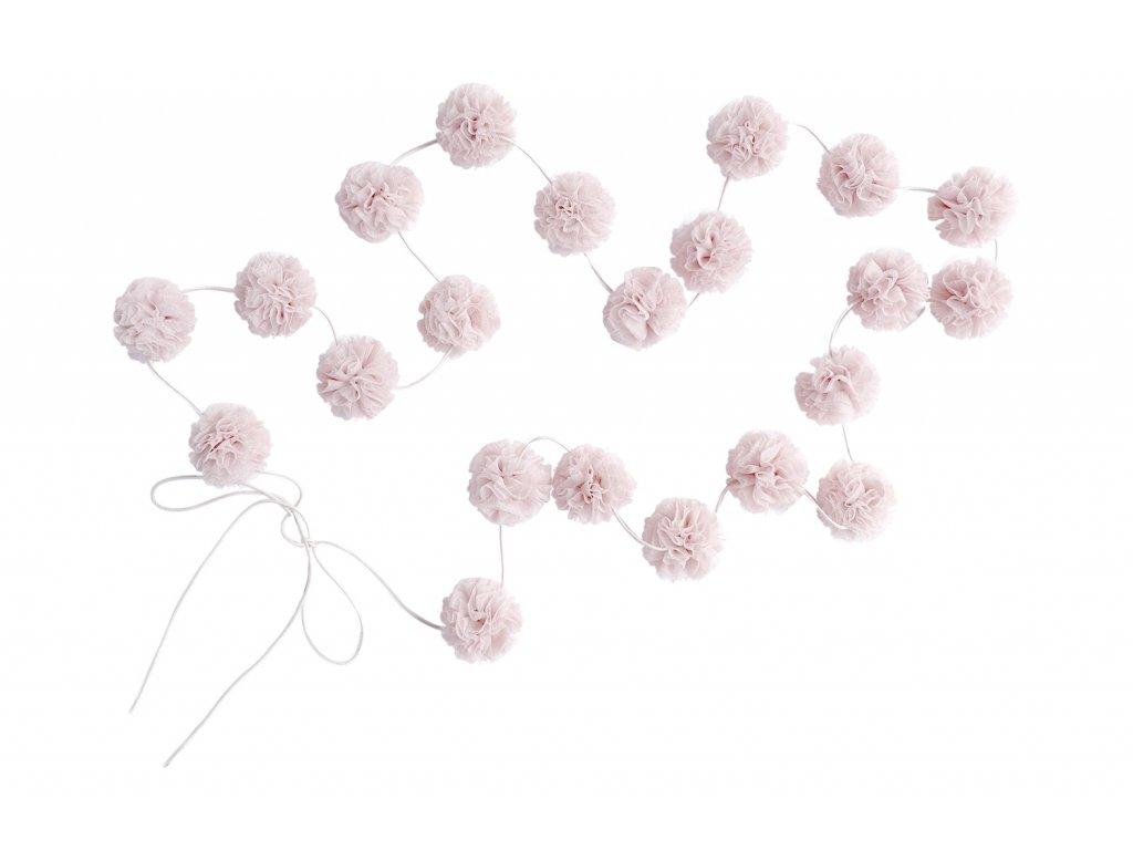 Mini PomPom Girlanda Pale Rose