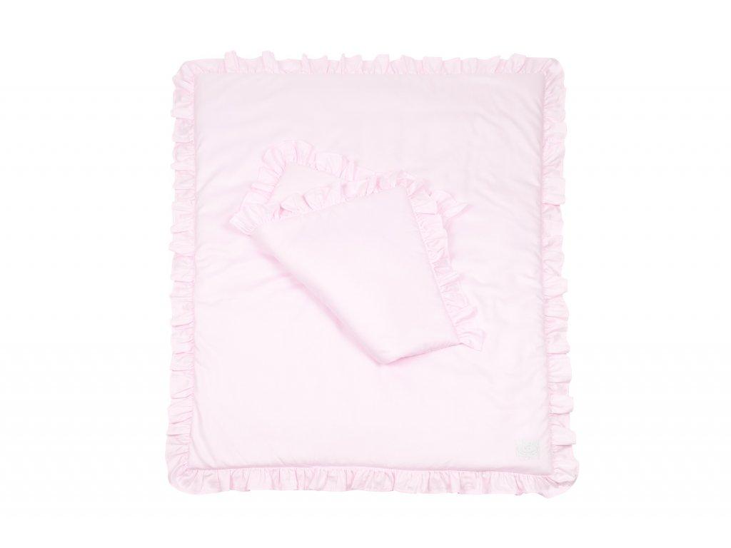 Perinka + vankúš s výplňou a volánikmi Simply Glamour 80x100cm - ružová