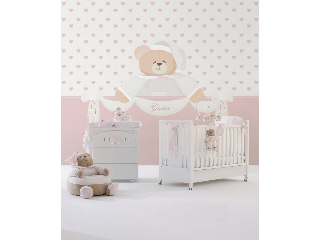 Tato e.... rosa Carta da parati Baby Interior Design Wallpaper® per Nanán® 01
