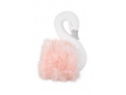 Dekoračná labuť na stenu bielo ružová