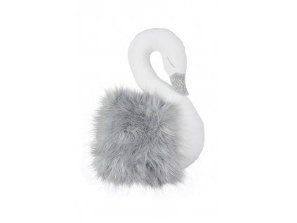 Dekoračná labuť na stenu bielo sivá