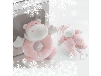 Darčekový set : Hrkálka Bombo ružová + Hrací Bombo ružový