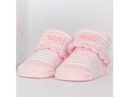 Nanán detské ponožky pásikavé ružové