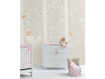 L amaca di Puccio rosa Carta da parati Baby Interior Design Wallpaper® per Nanán® 01