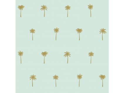 Tapeta Palm trees mint green and gold
