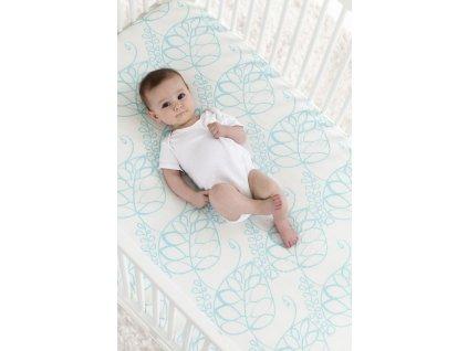 9604 3 silky soft crib sheet azure leafy lifestyle