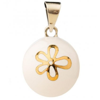 BY bola white with gold flower