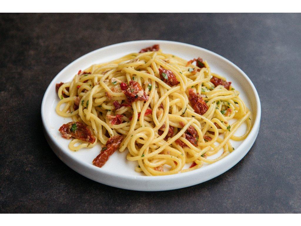 Spaghetti Aglio Olio suš. rajčata