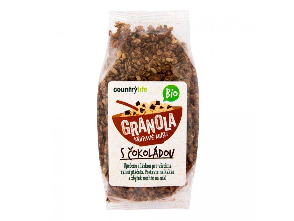 BIO Granola - křupavé ovesné müsli s čokoládou COUNTRY LIFE 350g