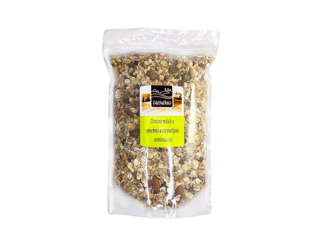 Ovocné müsli s ořechy a olejnatými semínky FARMLAND 500g