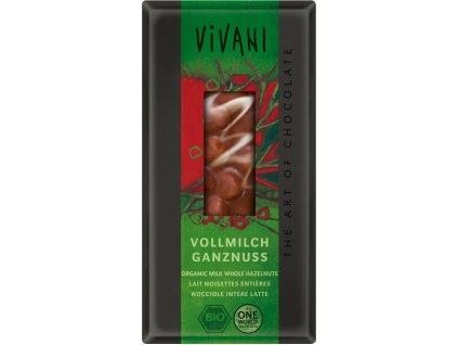 BIO Mléčná čokoláda s lískovými oříšky VIVANI 100g