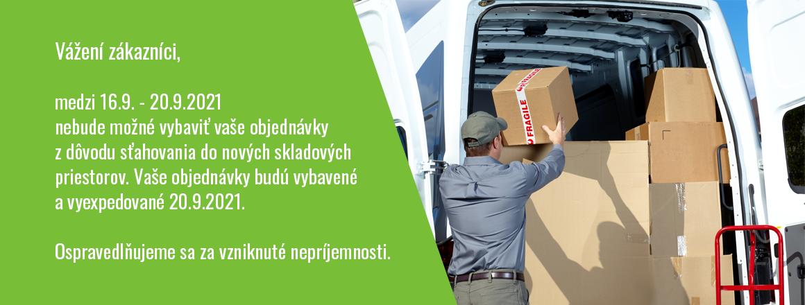 Z dôvodu sťahovania skladových priestorov nebude možné vybavovať objednávky.