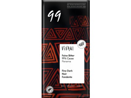 BIO EG horká čokoláda 99% s kokosovým cukrom VIVANI 80g