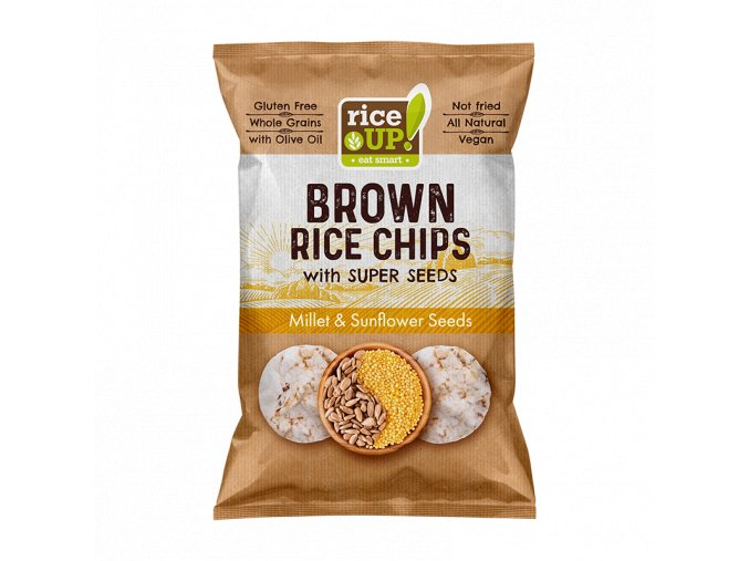 RICE UP! Brown Rice Chips Superseeds Millet & Sunflower Seeds 60g MOCK UP S