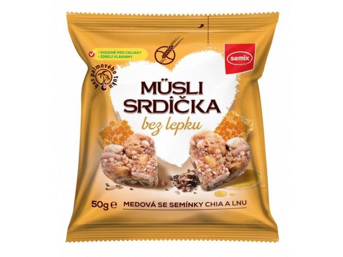 Semix Musli srdíčka BEZ LEPKU - med a chia 50g