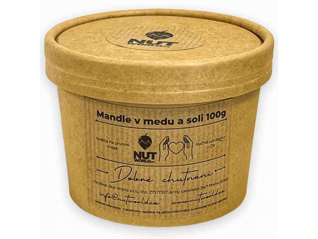 mandle v medu a soli 100g v eko kelímku zavřené nutworldcz