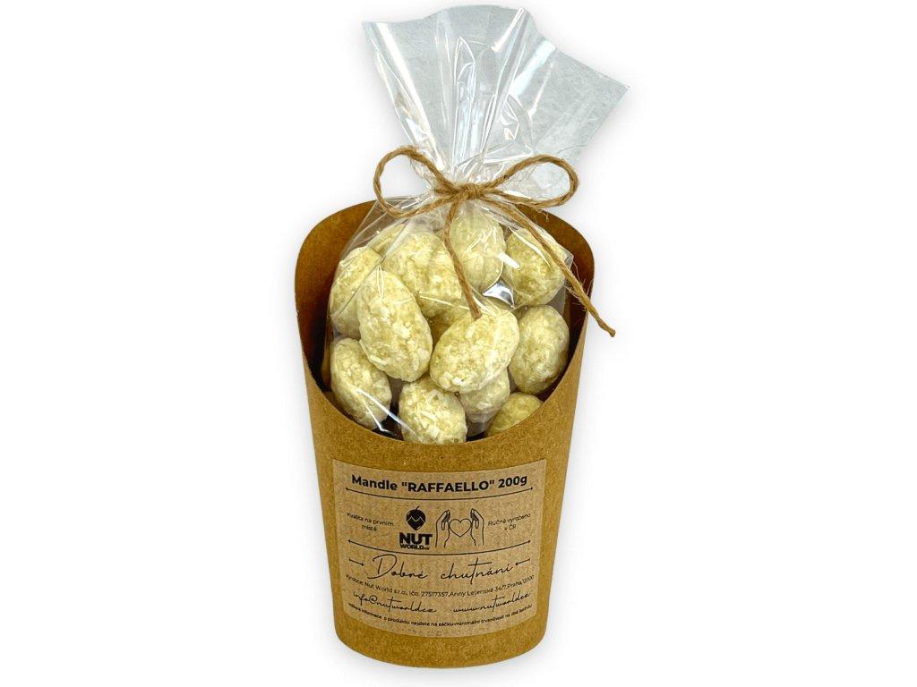 mandle v bílé čokoládě s kokosem 200g v celofánu a kelímku nutworldcz
