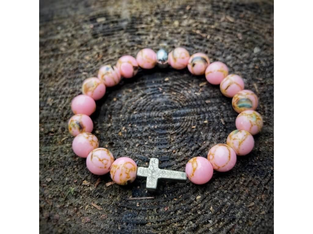 náramek na ruku ružový s křížkem dámský
