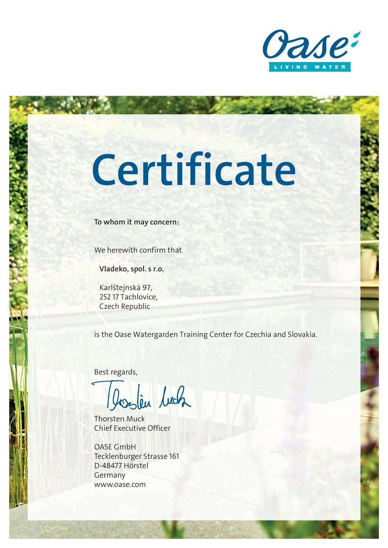 Certificate_OASE_Vladeko