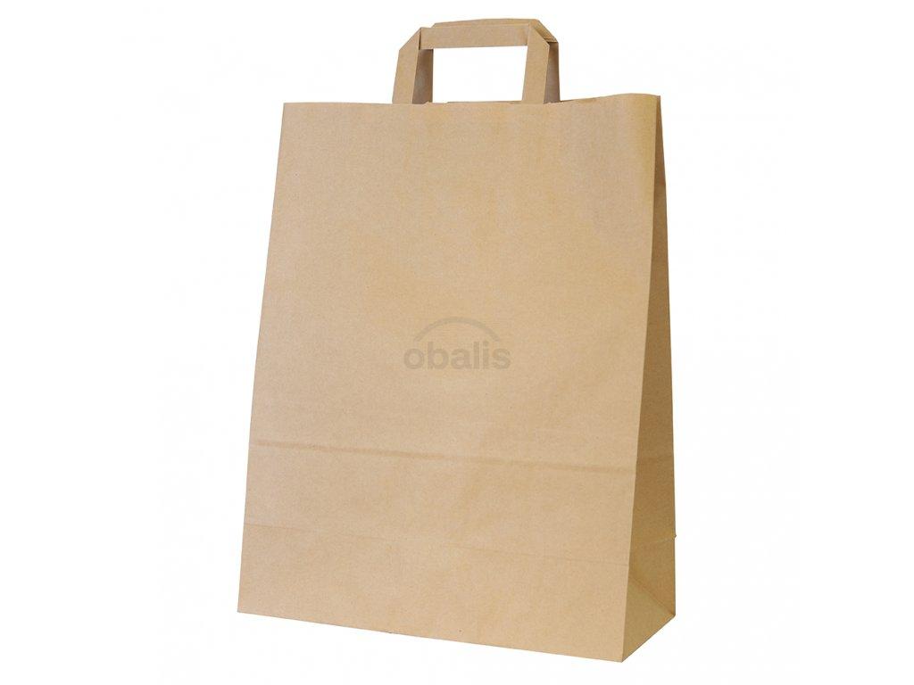 Papírová taška kraft hnědá s plochým uchem 32x14x42 cm