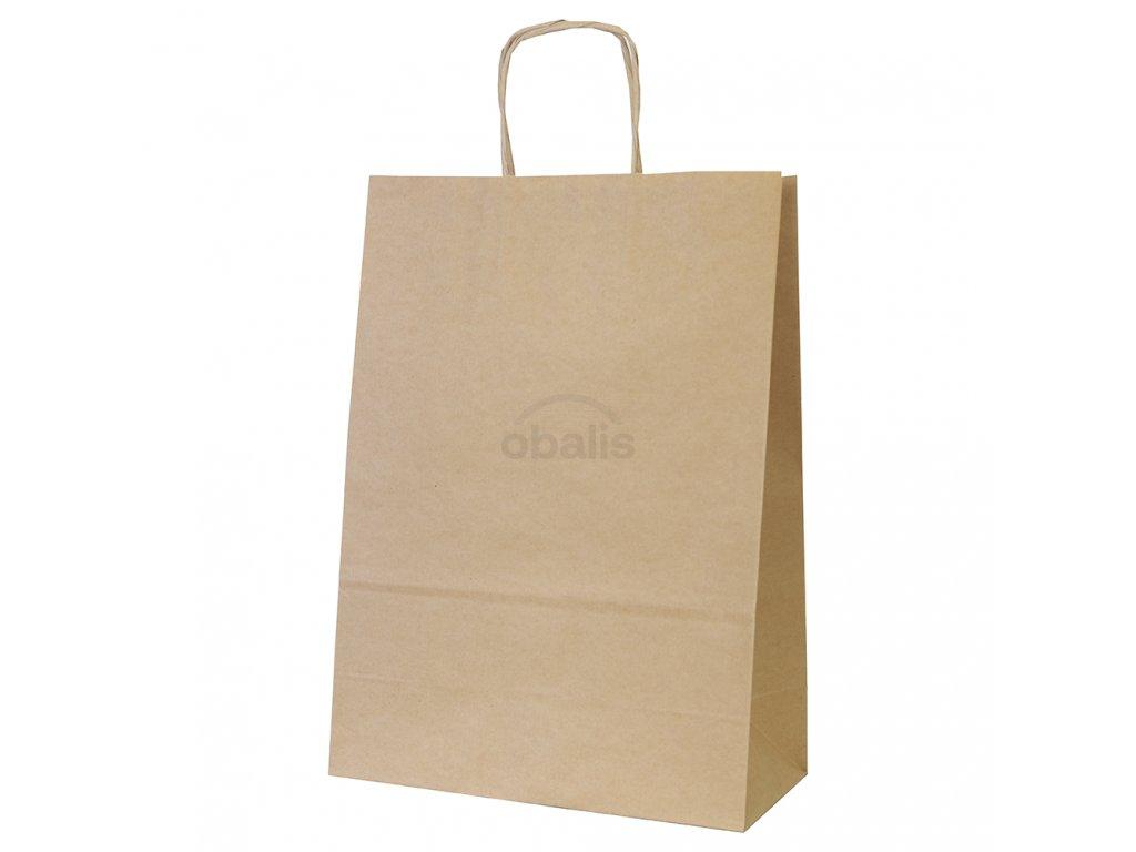 Papírová taška kraft hnědá s krouceným uchem 26x12x34 cm
