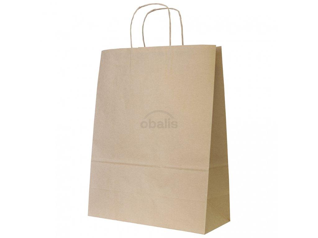Papírová taška kraft hnědá s krouceným uchem 32x14x42 cm