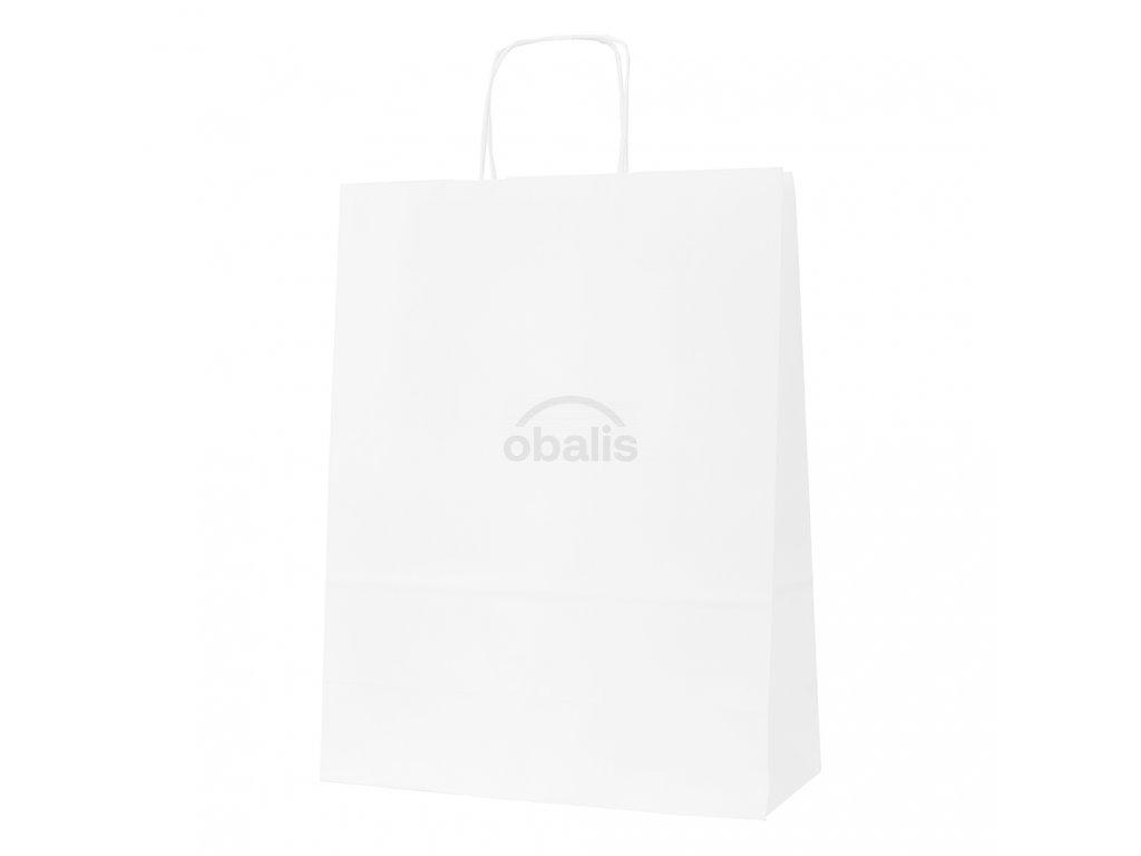 Papírová taška bílá s krouceným uchem 32x14x42 cm