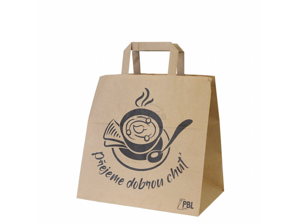 """Papírová taška s potiskem """"Dobrou chuť"""" 28x17x27"""