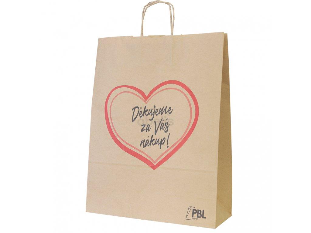 """Papírová taška s potiskem """"Děkujeme"""" 32x12x41"""