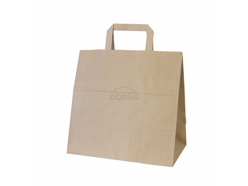 Papírová taška kraft hnědá s plochým uchem 28x17x27 cm