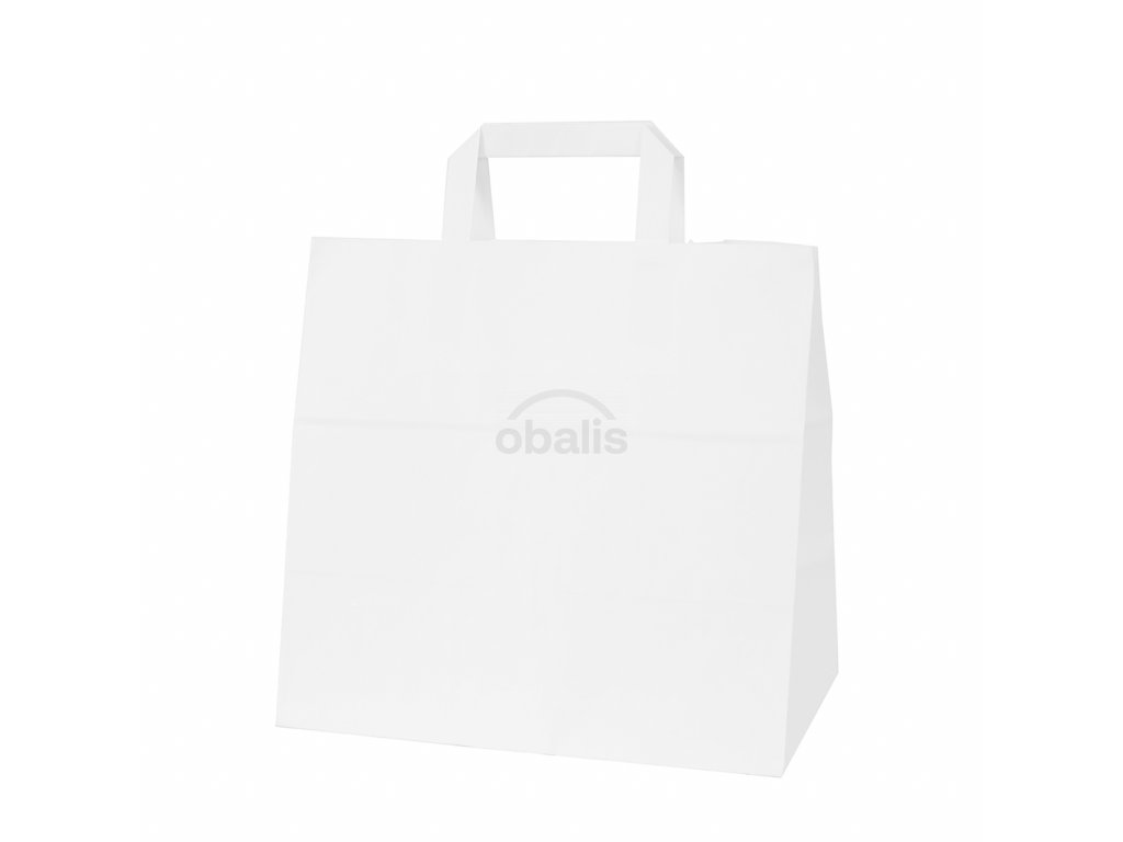 Papírová taška kraft bílá s plochým uchem 28x17x27 cm