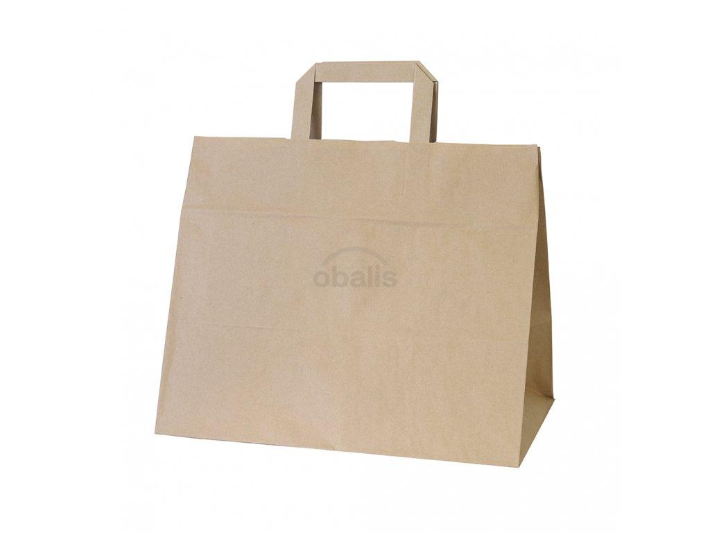 Papírová taška kraft hnědá s plochým uchem 32x20x28 cm