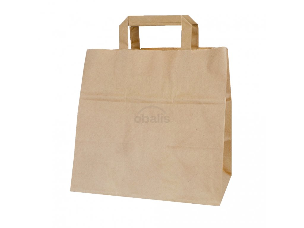 Papírová taška kraft hnědá 26x17x25 cm na gastro obaly