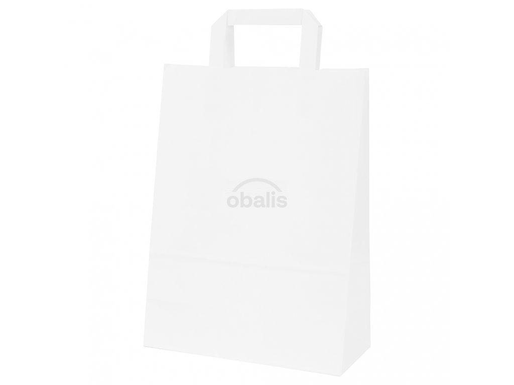Papírová taška bílá s plochým uchem 24x11x33 cm