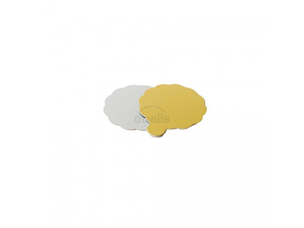 Dortová podložka kruh zlatá/stříbrná ⌀8 cm