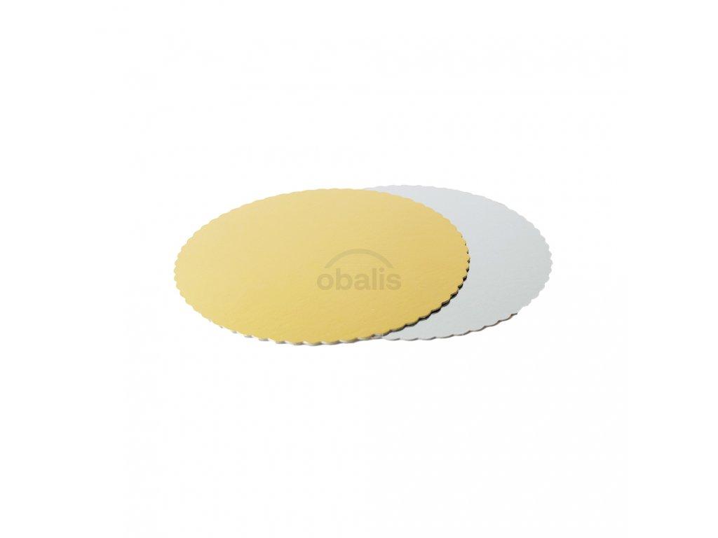 Dortová podložka kruh zlatá/stříbrná ⌀22 cm