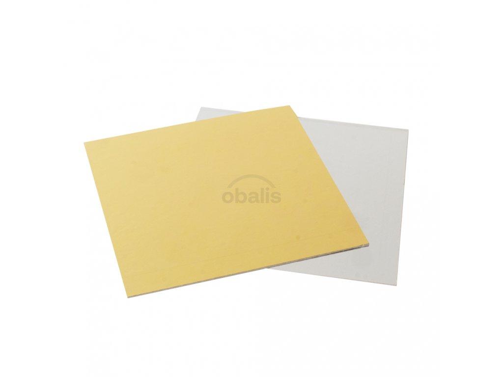 Dortová podložka čtverec zlatá/stříbrná 35 x 35 cm