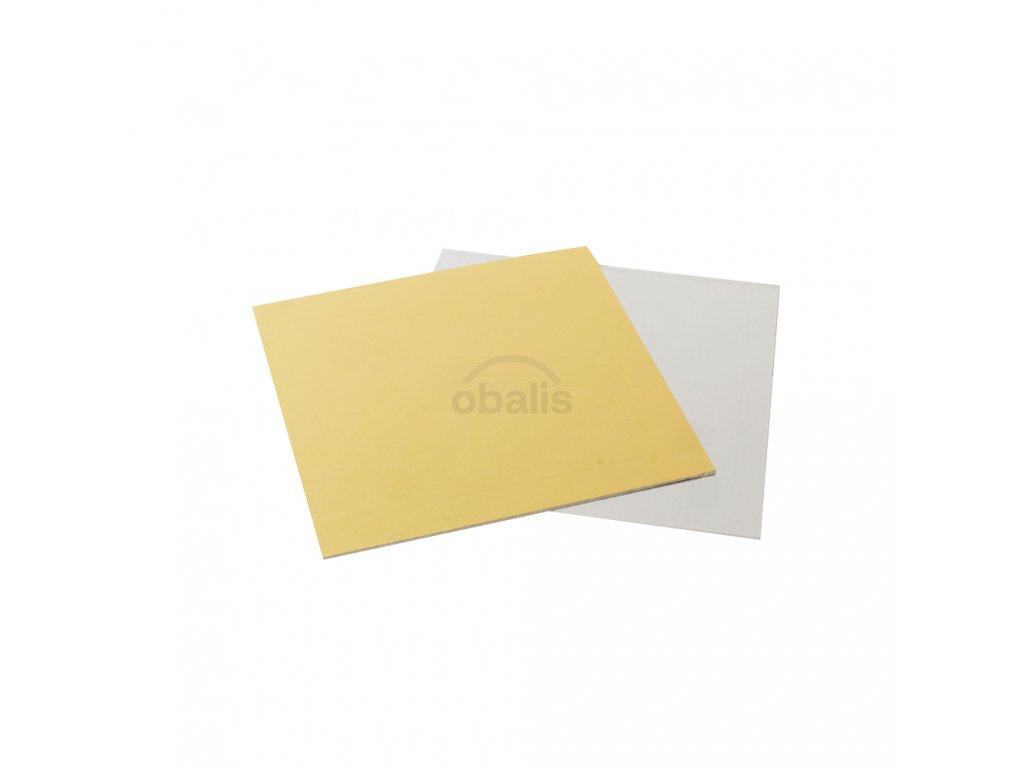 Dortová podložka čtverec zlatá/stříbrná 20 x 20 cm
