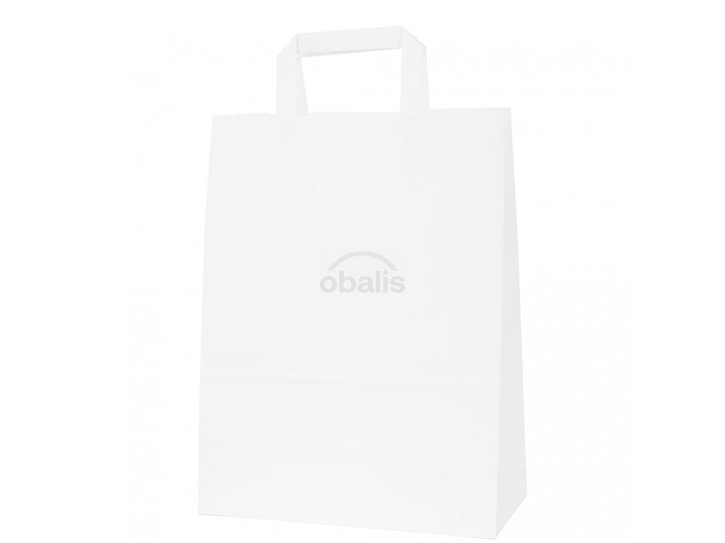 Papírová taška bílá s plochým uchem 26x12x34 cm