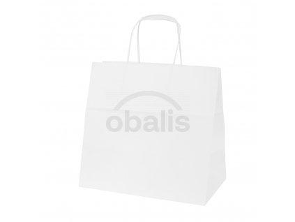 Papírová taška kraft bílá s krouceným uchem 28x17x27 cm