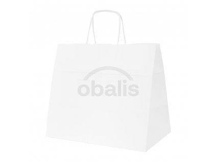Papírová taška bílá s krouceným uchem 32x20x28 cm