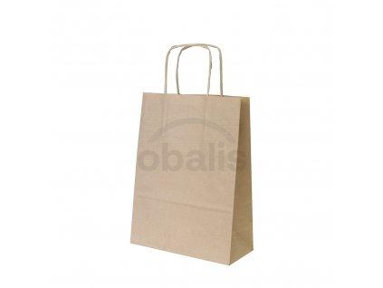 Papírová taška kraft hnědá s krouceným uchem 18x8x24 cm