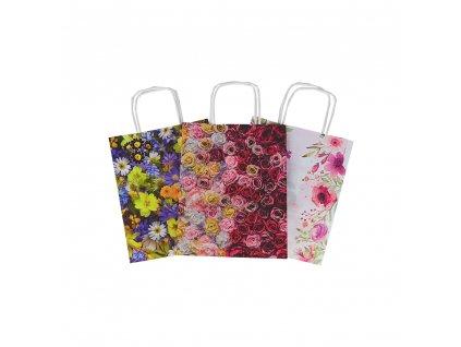 """Papírová taška 3 motivy """"Flowers"""" 18x8x22 cm"""