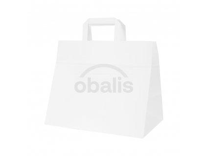 Papírová taška kraft bílá s plochým uchem 32x20x28 cm