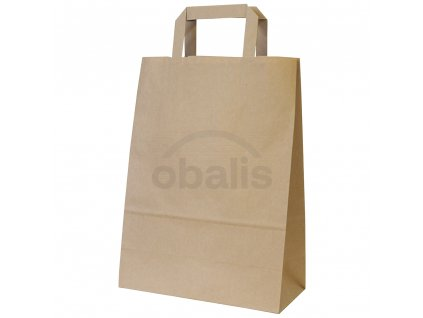 Papírová taška kraft hnědá s plochým uchem 24x11x33 cm