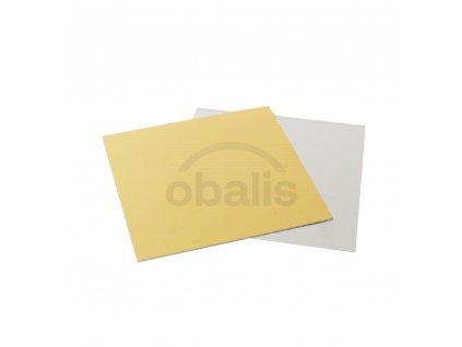 Dortová podložka čtverec zlatá/stříbrná 25 x 25 cm