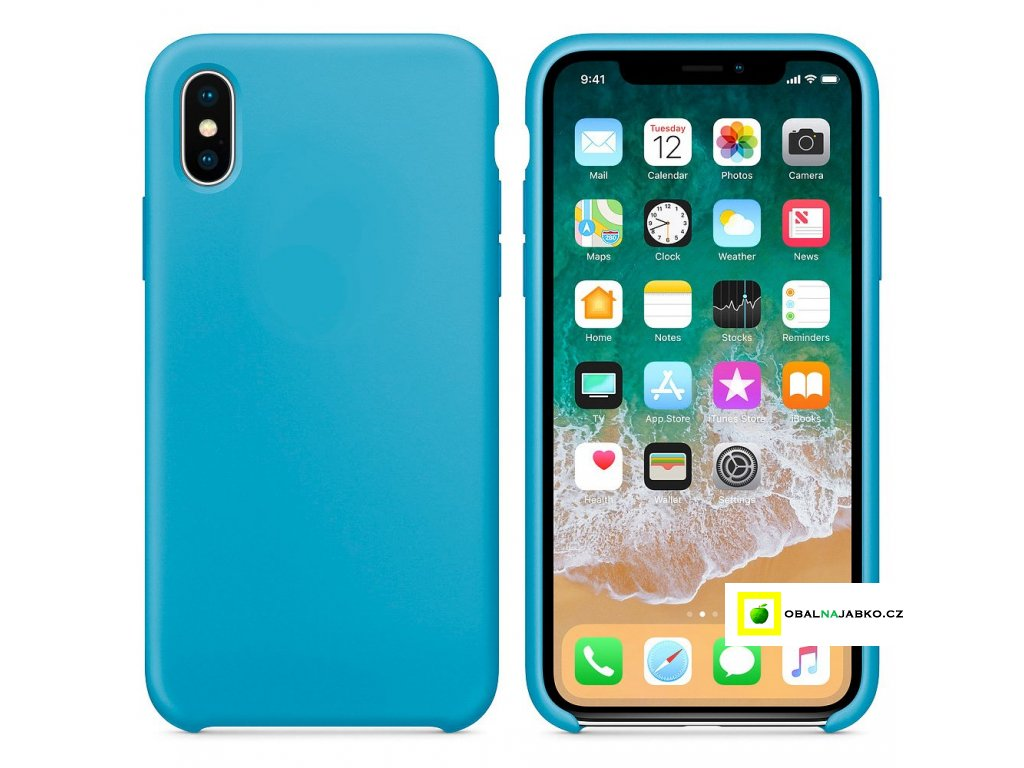 eng pl Silicone Case Soft Flexible Rubber Cover for iPhone XS X blue 40741 2