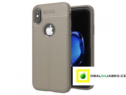 eng pl Litchi Pattern Flexible Cover TPU Case for iPhone XS X grey 37864 4